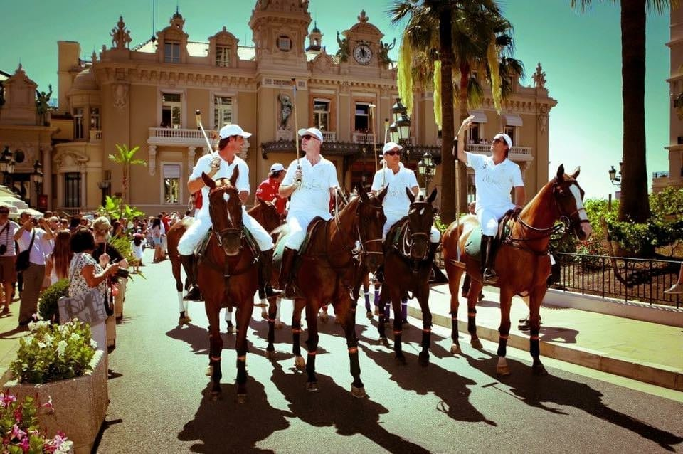 Monte Carlo Polo Cup Horses in front of Monte Carlo Casino with Francesco Mitrano the President of the Monte Carlo Polo Club