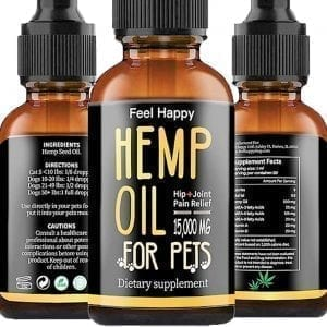 Feel Happy 15000 Natural Pet Hemp Oil for Dogs & Cats Calming, Dogs Arthritis, Separation, Anxiety Relief, Dogs Joint & Hips Pain, Cats Treats Skin and Coat, Calming Drops, Omega 3, 6 & 9 Made in USA